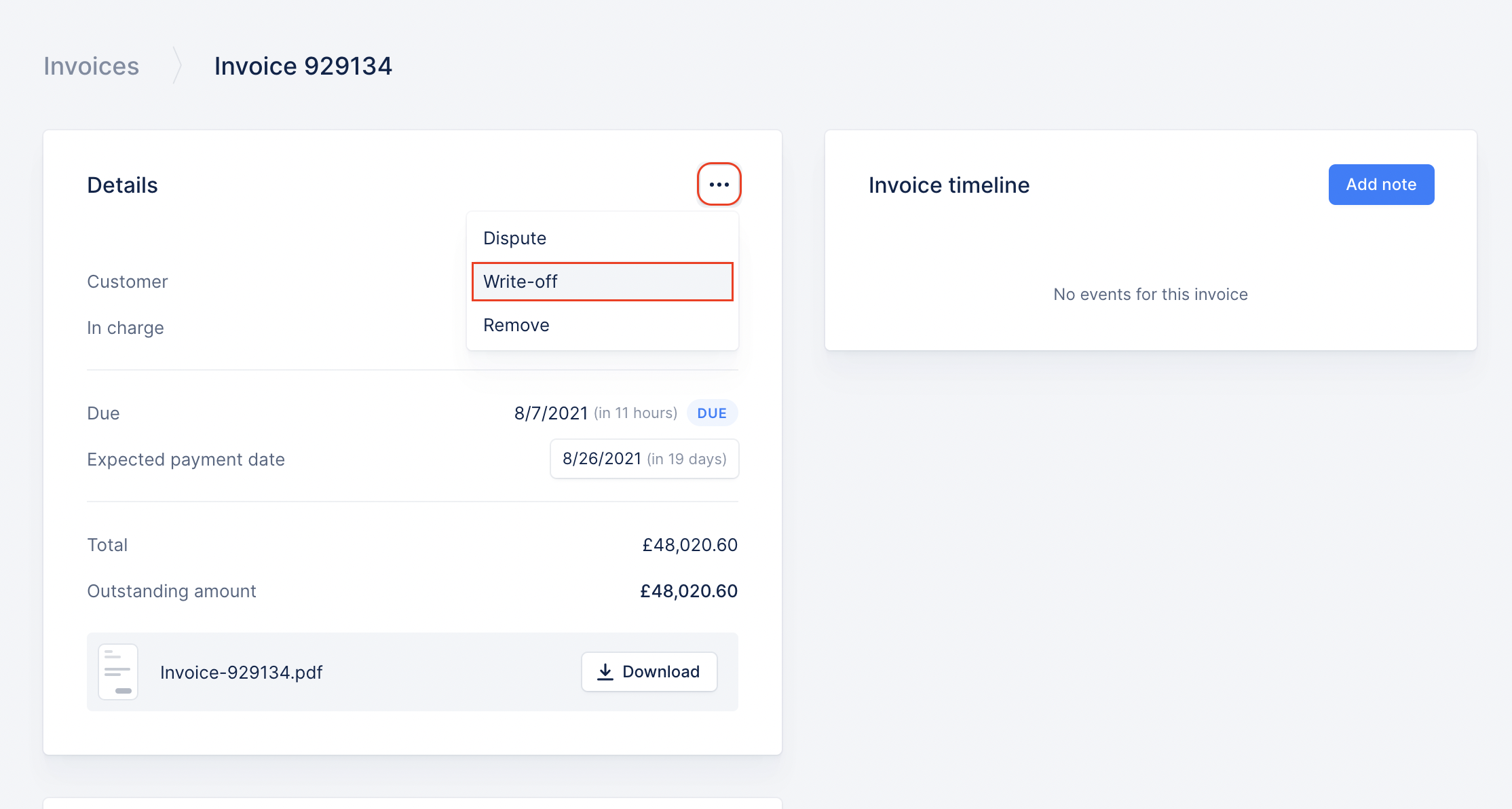 write off an invoice in Upflow