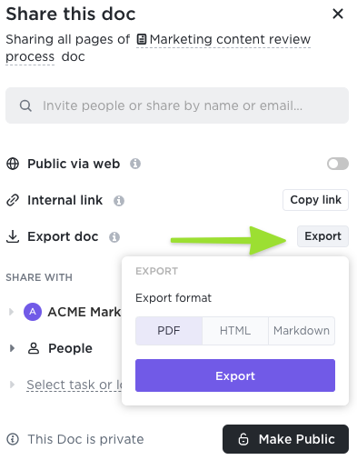 Screenshot of the sharing modal highlighting the option to export a Doc and the formats available