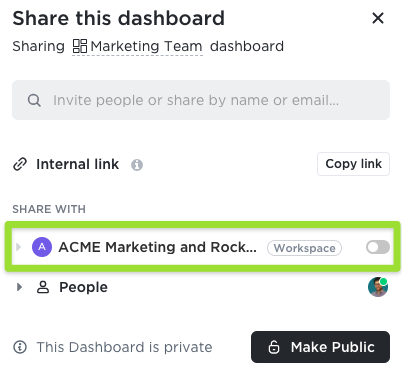 Screenshot of the sharing modal highlighting the option to share with the Workspace