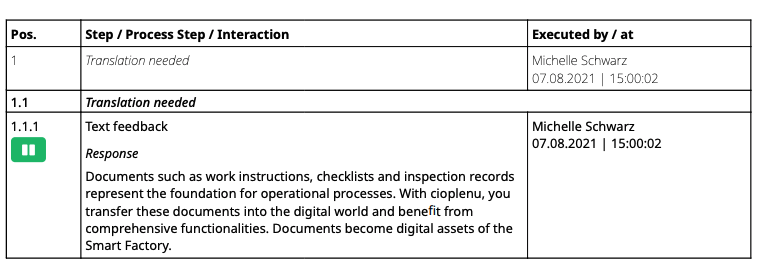 Improved display of text feedback in PDF report