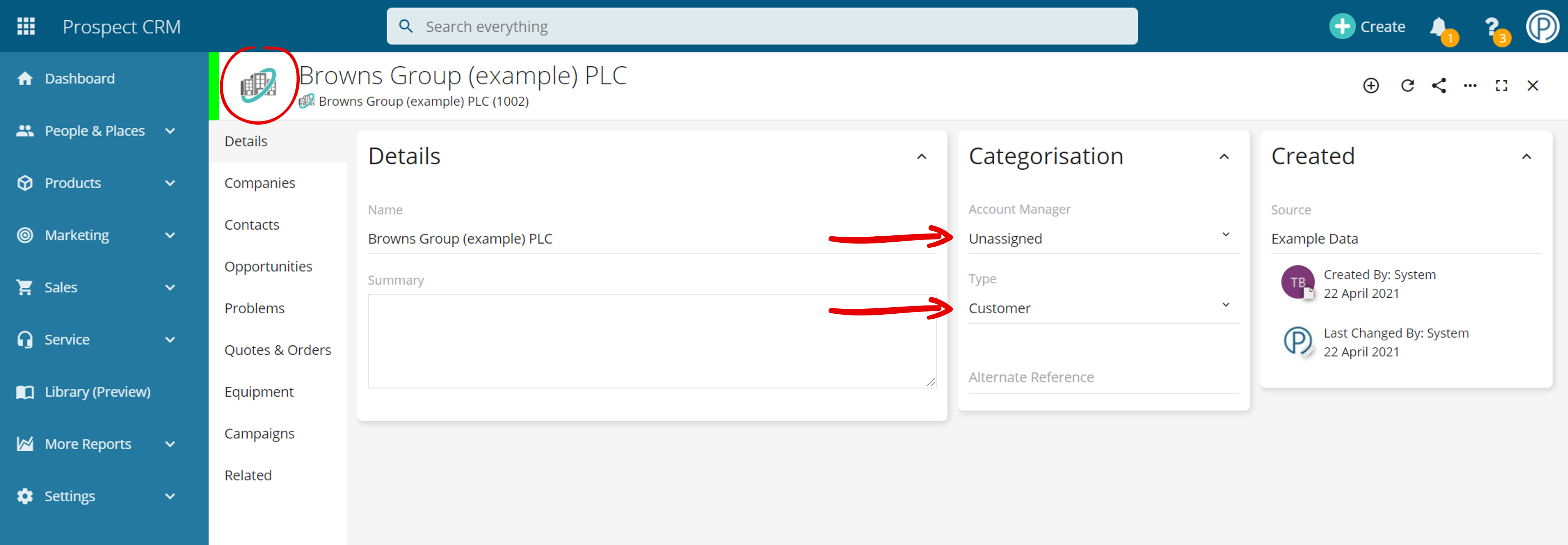 Company Group Record Layout in Prospect CRM