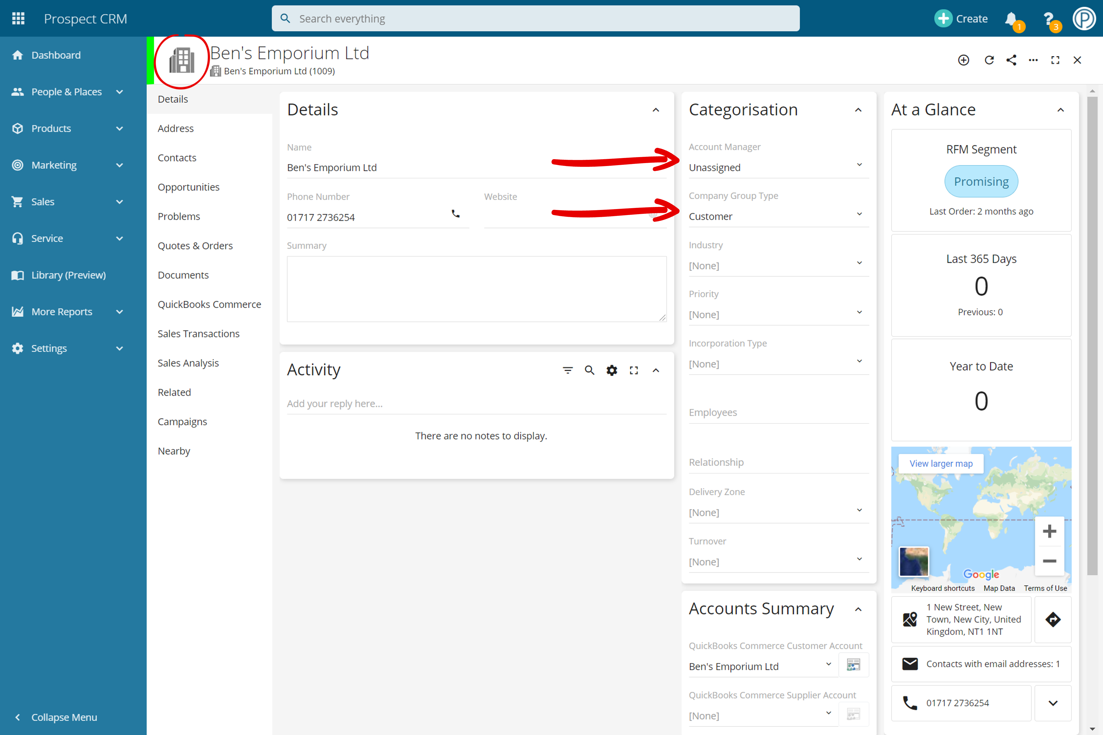 Company Record Layout in Prospect CRM