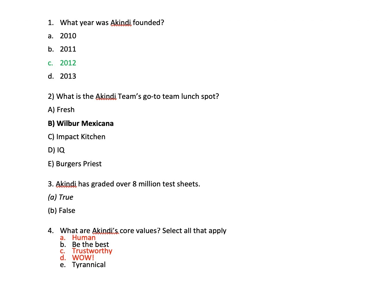 Image: Answer key identified for each question using either boldface, italics, or a different coloured font