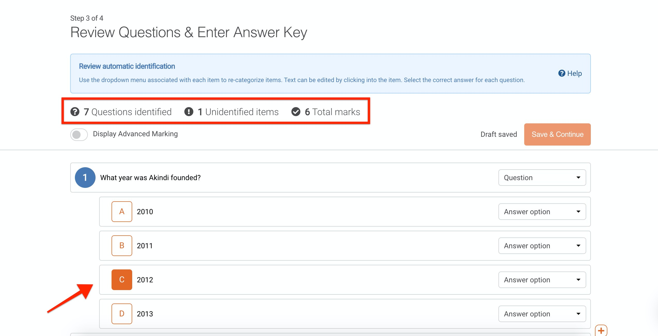 Image: Review & Enter Answer Key page
