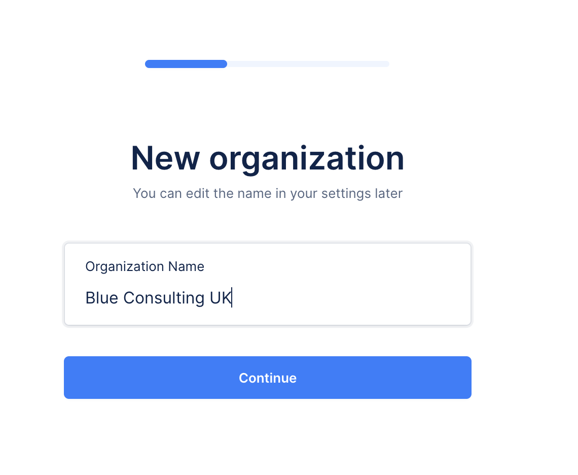 edit the name of your new organisation in Upflow