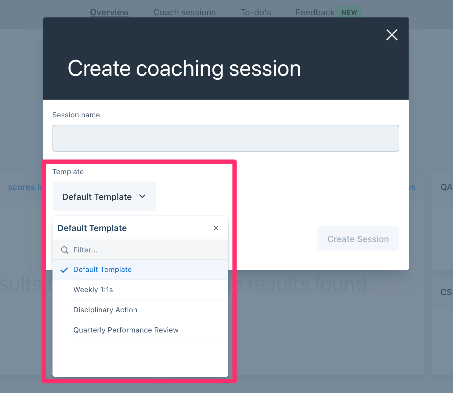 edit template coaching session