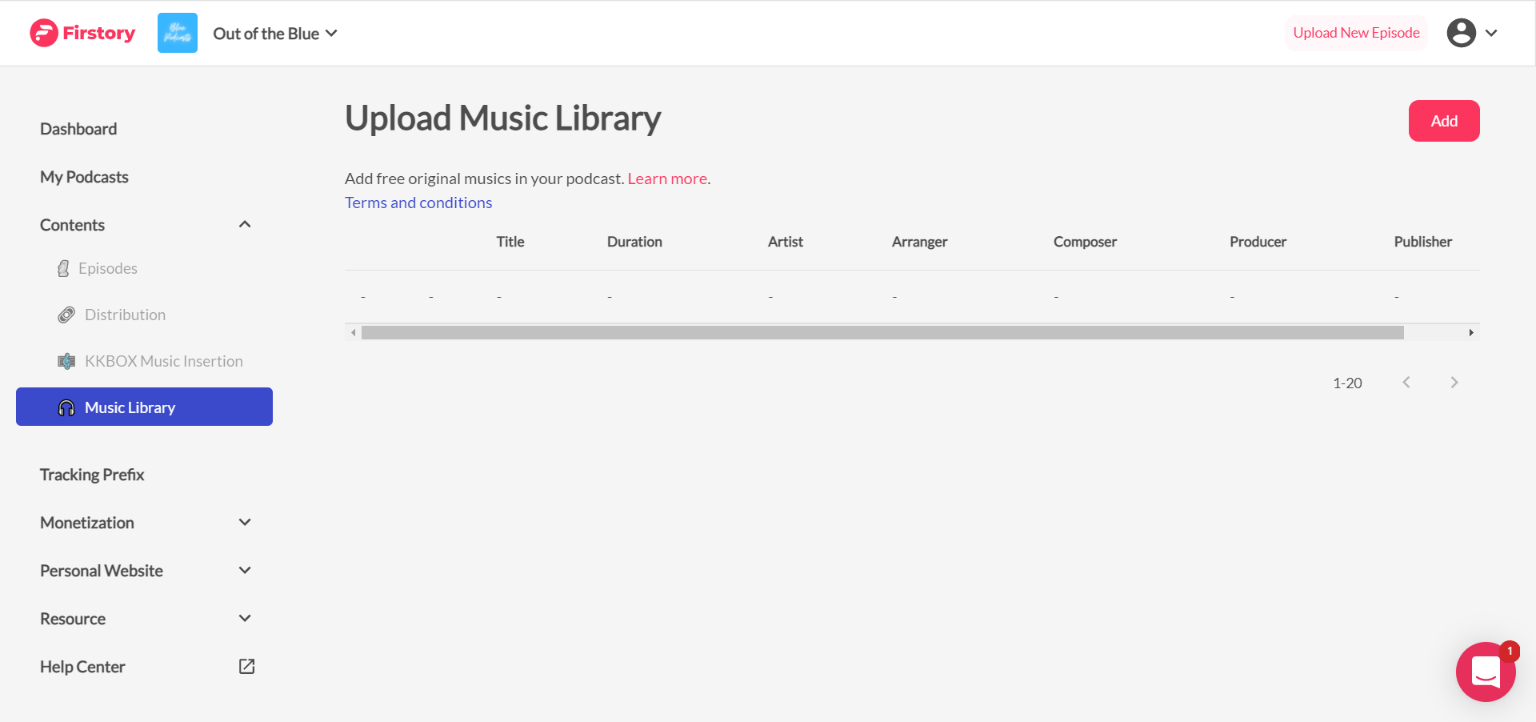 Firstory music library
