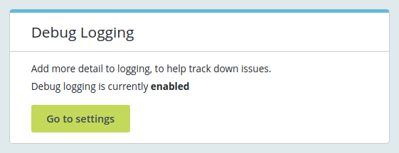 debug logging status box