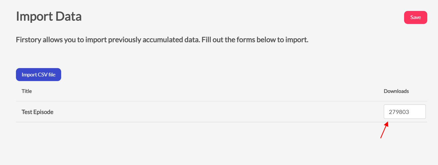 import data on firstory