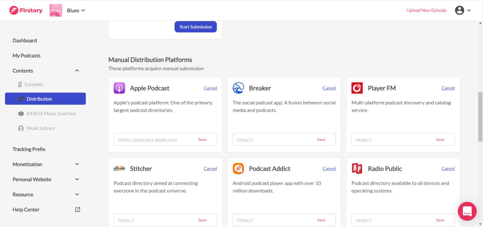 paste link of distribution platforms