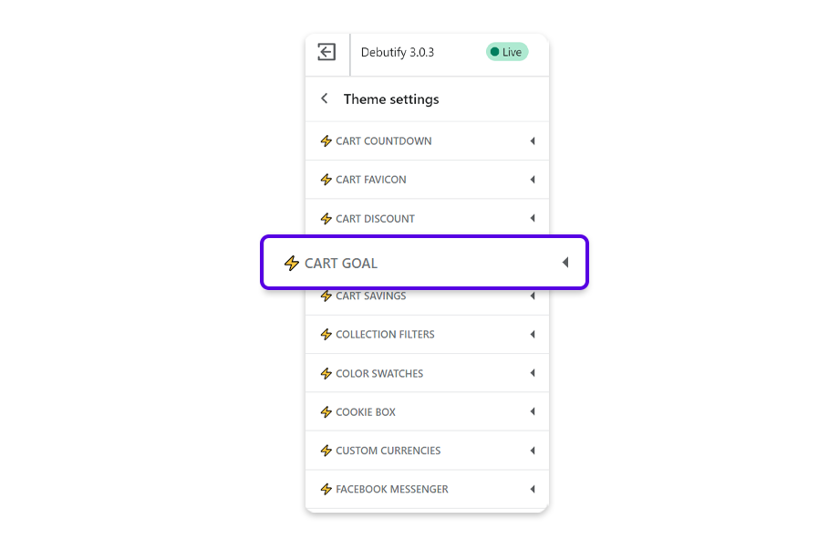 Navigate Theme Settings and tap Cart goal to configure its settings.