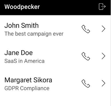 woodpecker mobile app screen view