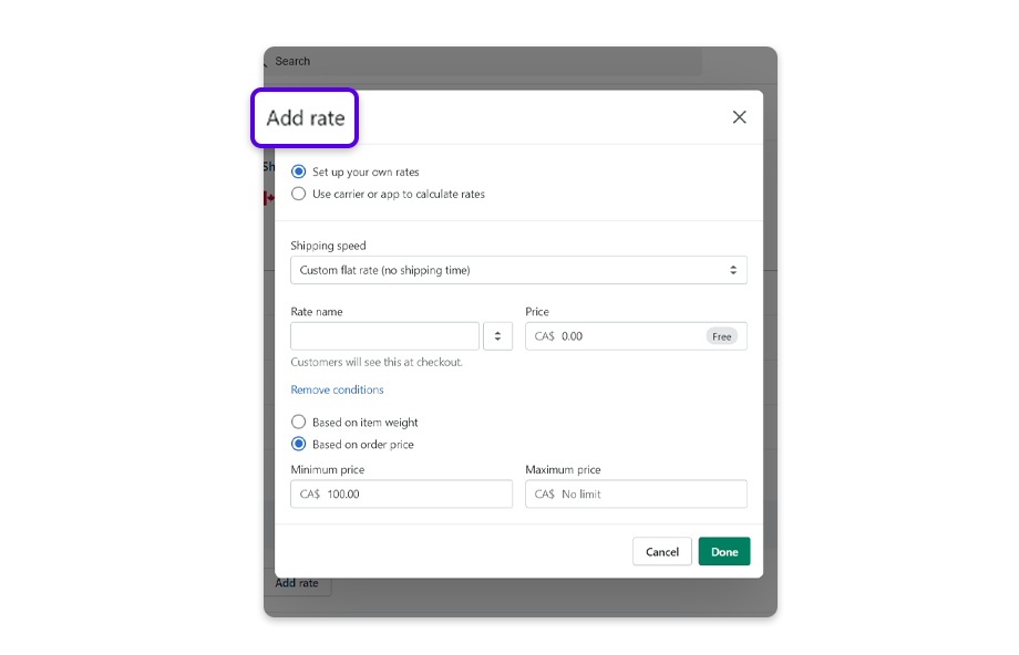 Tap Add rate. Your rate should match with the goal amount you have entered in your Cart goal settings.