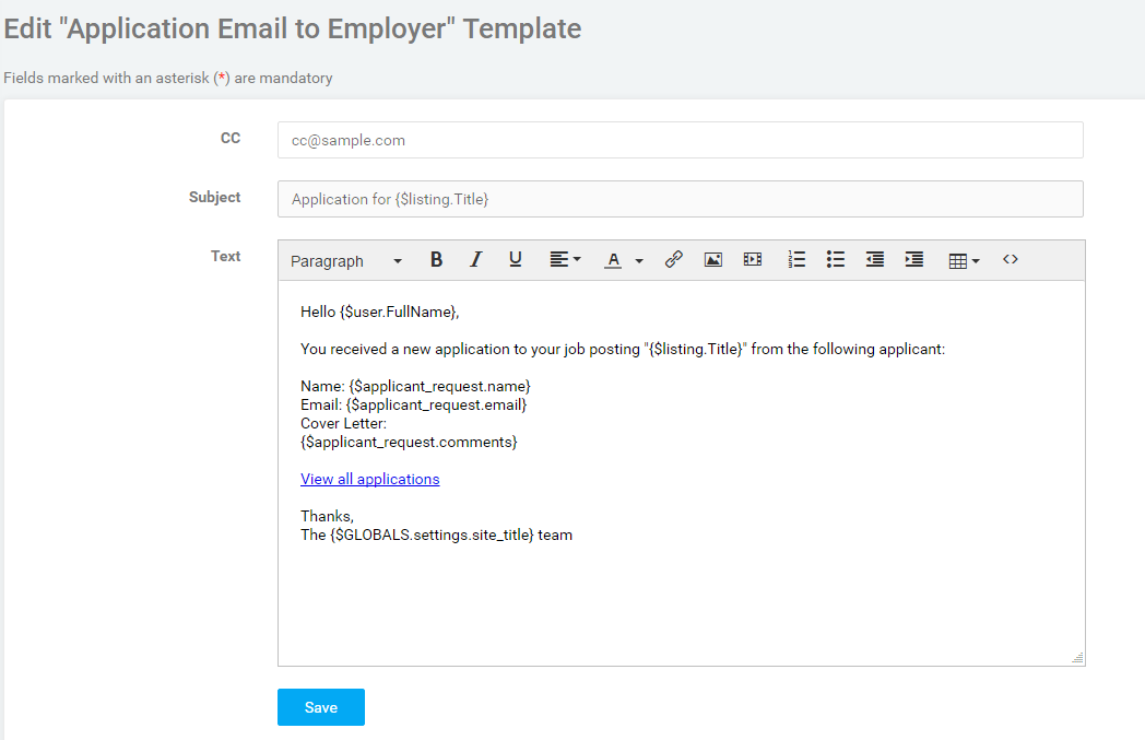 Editing email templates smartjobboard help center customize the text of the body as you desire we recommend customizing the greeting and salutation to match your brand m4hsunfo