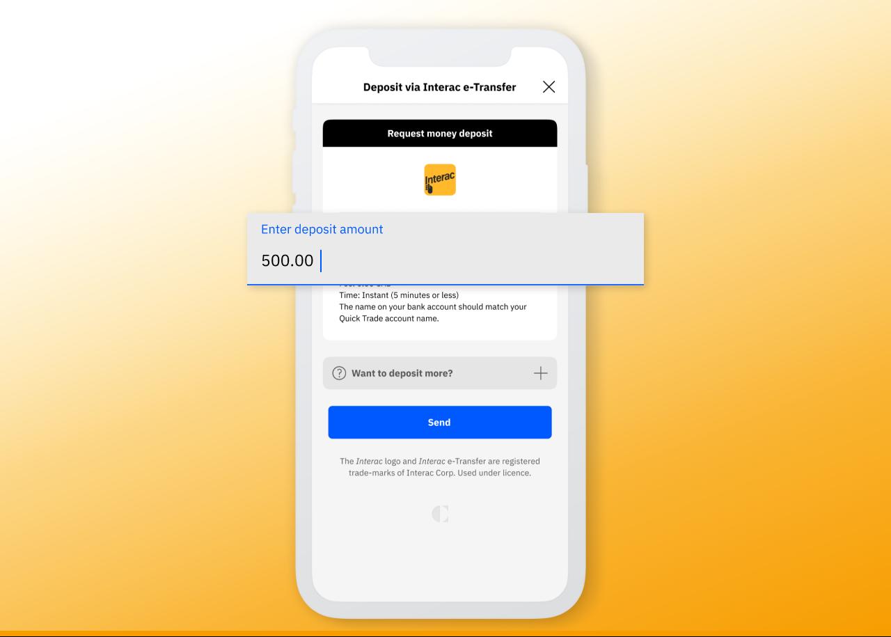 Quick Trade deposit via Interac e-transfer deposit amount input box highlighted.