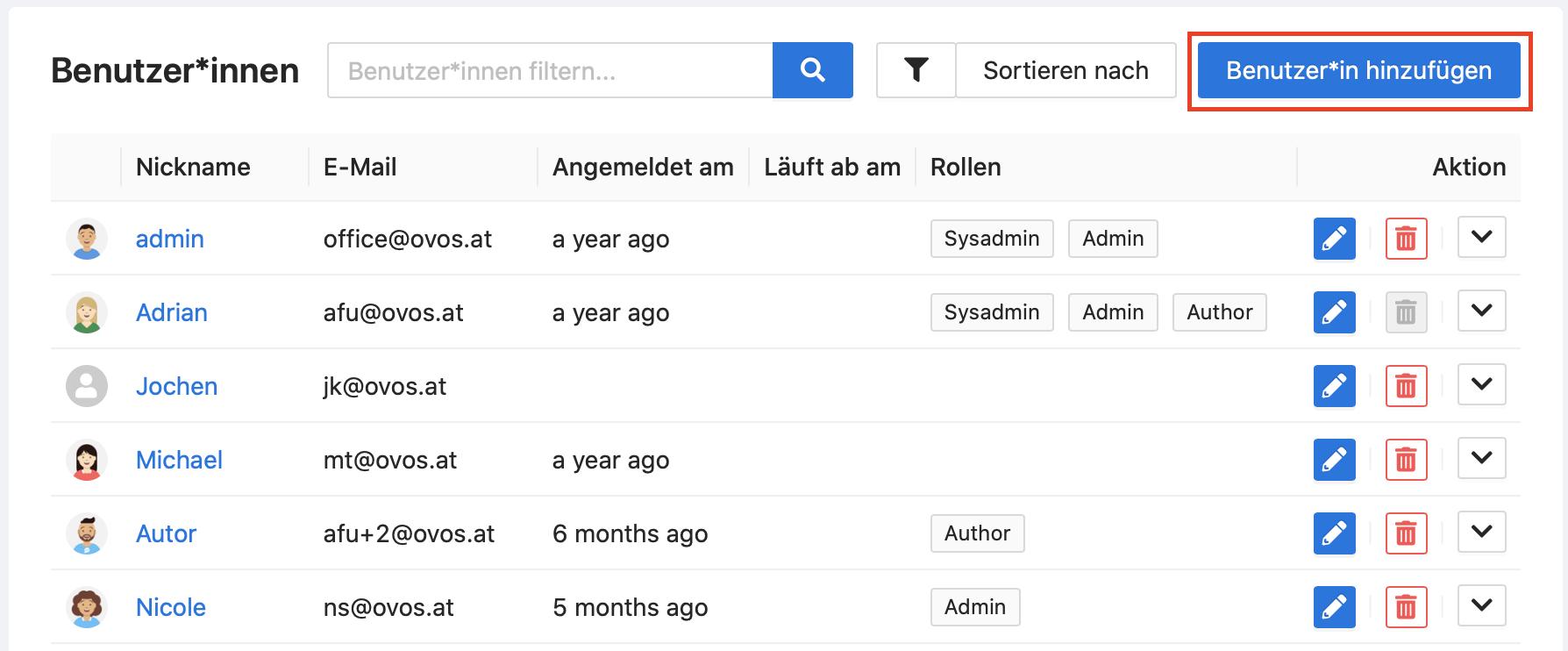 Über die Benutzer*innen-Liste können Sie jederzeit neue Benutzer*innen anlegen.