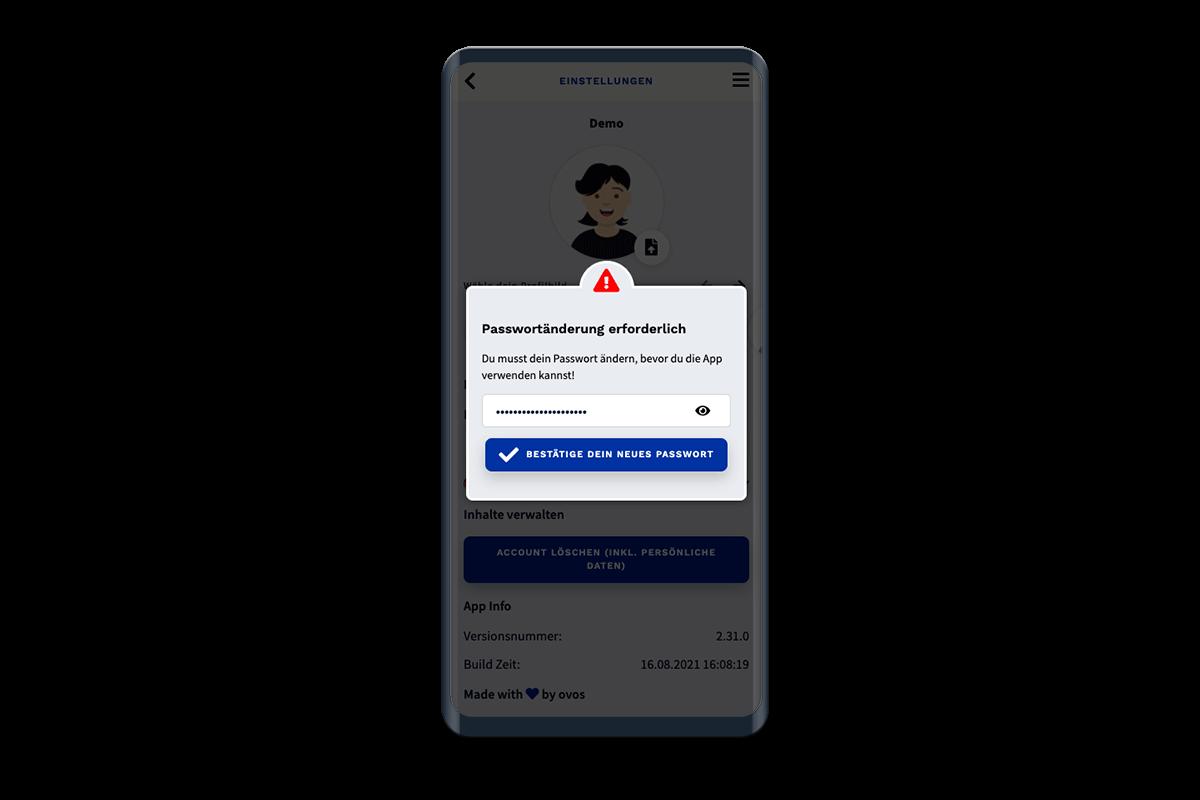 App-Ansicht beim erforderlichen Ändern des Passworts.