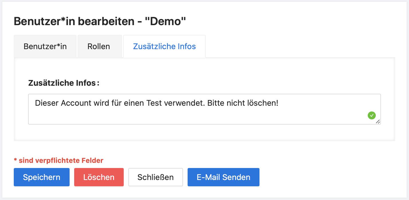 Zusätzliche Informationen können pro Benutzer*in hinzugefügt werden.