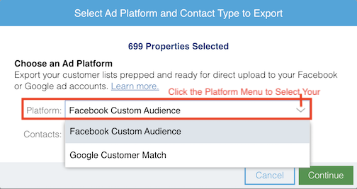 Select Facebook Custom Audience as your Ad Platform