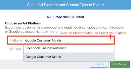 Select Google Customer Match as your Ad Platform