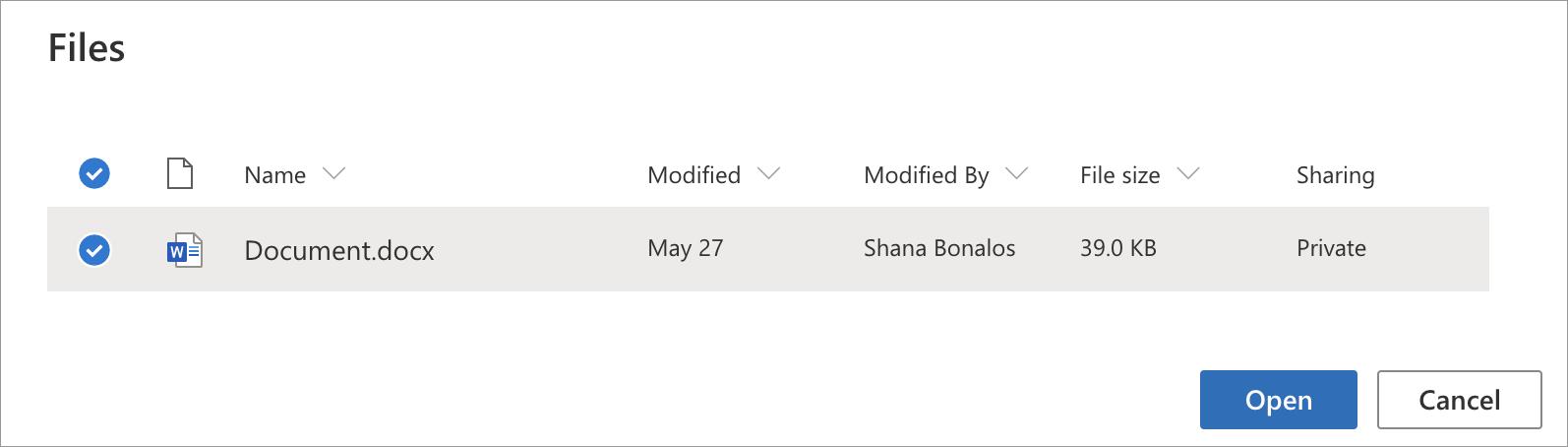 Choosing a file from Microsoft OneDrive