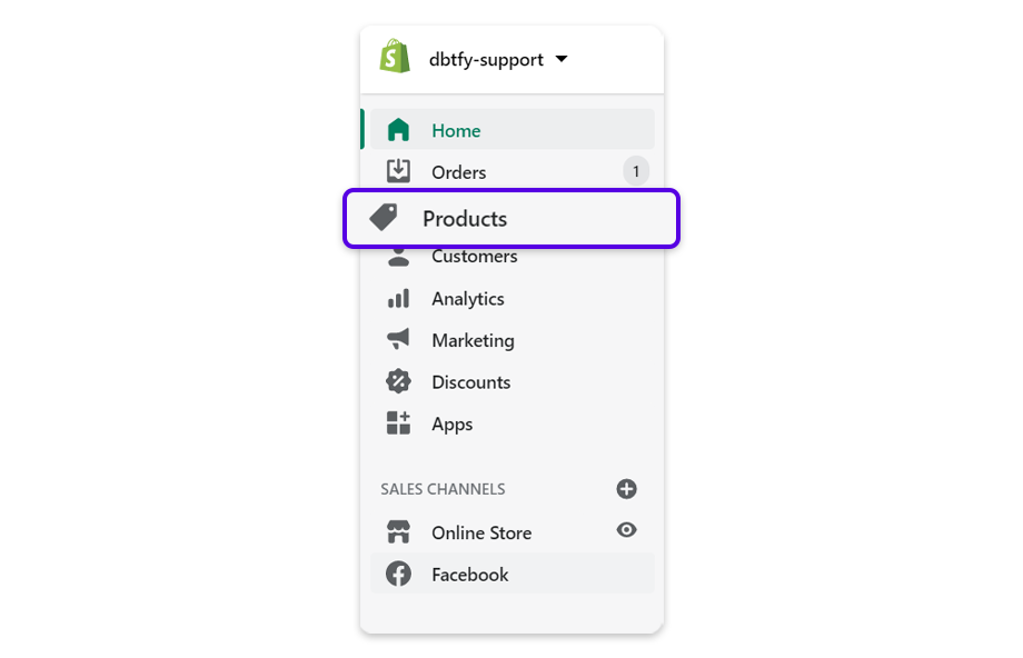 Go to your Shopify Admin, select Products to show all the products in your Shopify store.