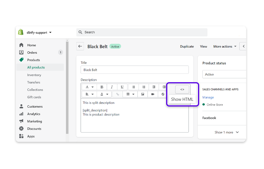 Change the product description format to show HTML.