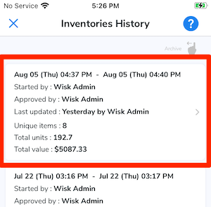 The most recent inventory is highlighted, indicating it should be tapped.