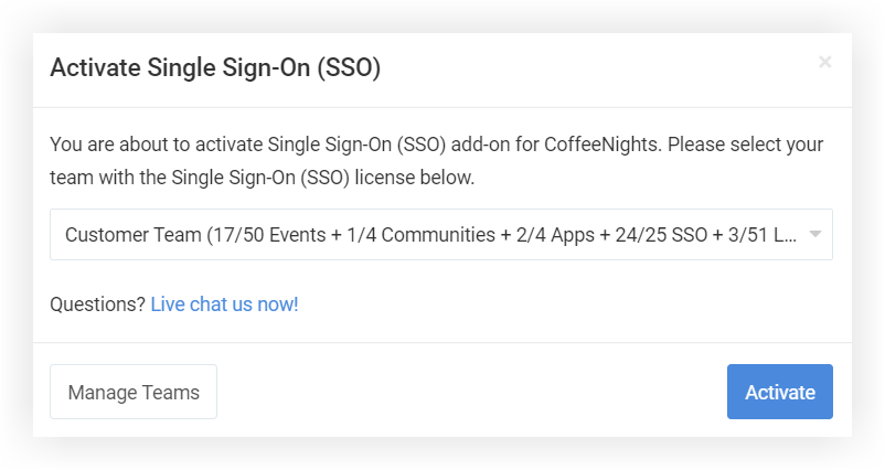 Screenshot of the Activate Single Sign-On modal.