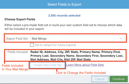 Review the Fields Included in Your Mail Merge File Download