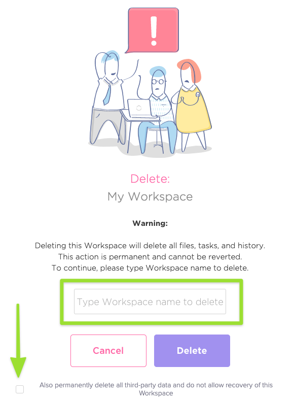 Screenshot of the warning page that is presented before deleting a Workspace