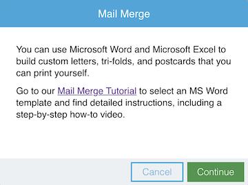 Mail Merge window