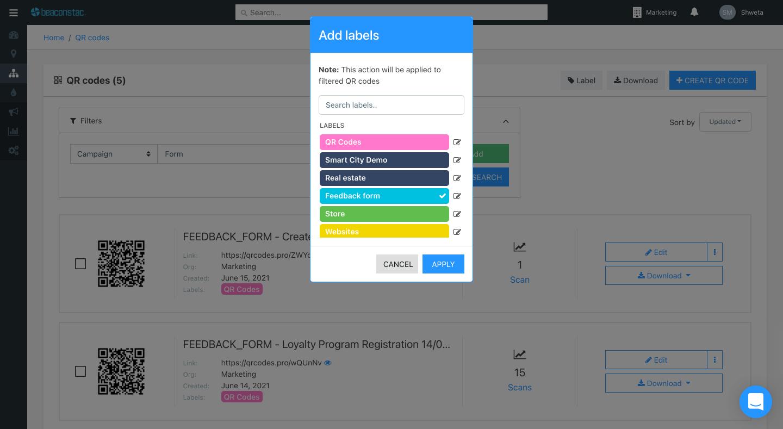 Assign labels for filtered QR Codes