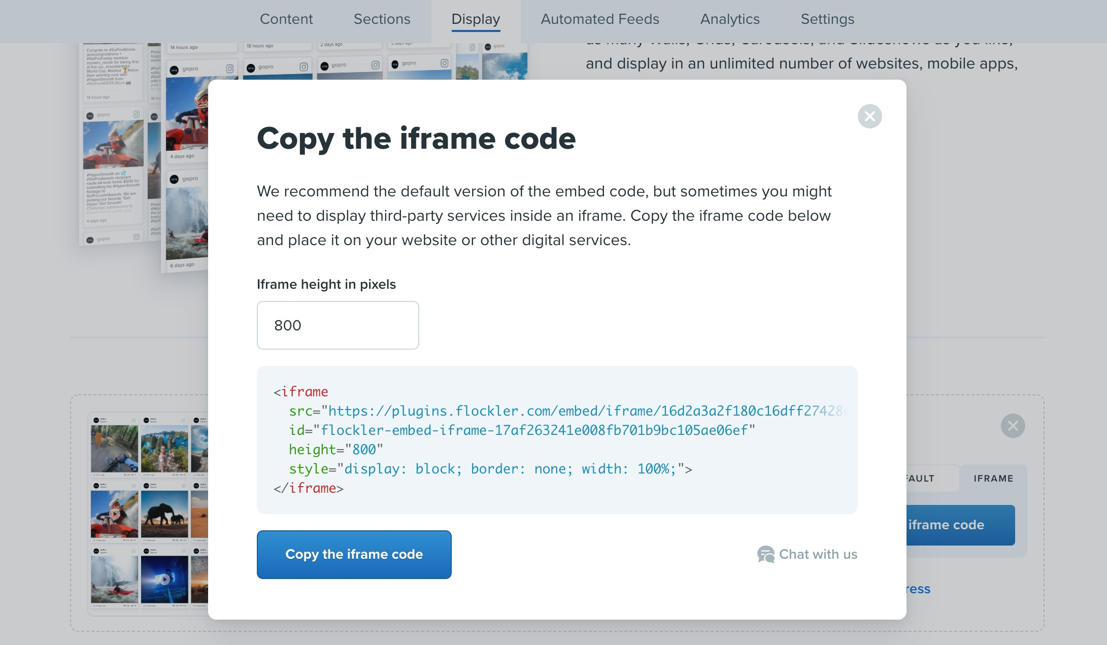 Customizing the height of the iframe embed code on the Flockler platform
