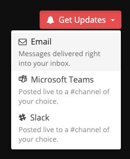 Status update notification options.