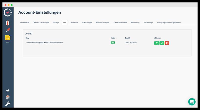 Aktivierter API Schlüssel in den Account-Einstellungen