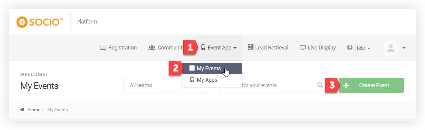 Screenshot of the My Events page. The Create Event button is indicated.