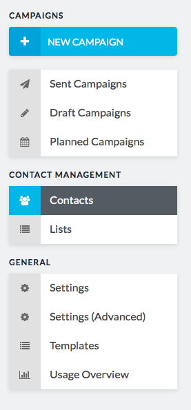 contacts button in sidebar