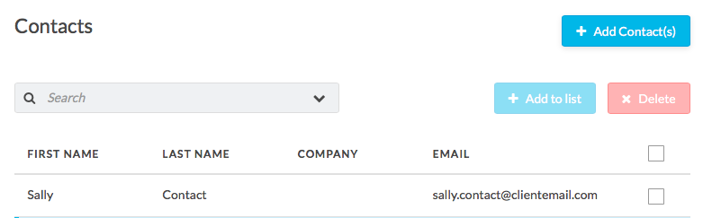 list contacts in email