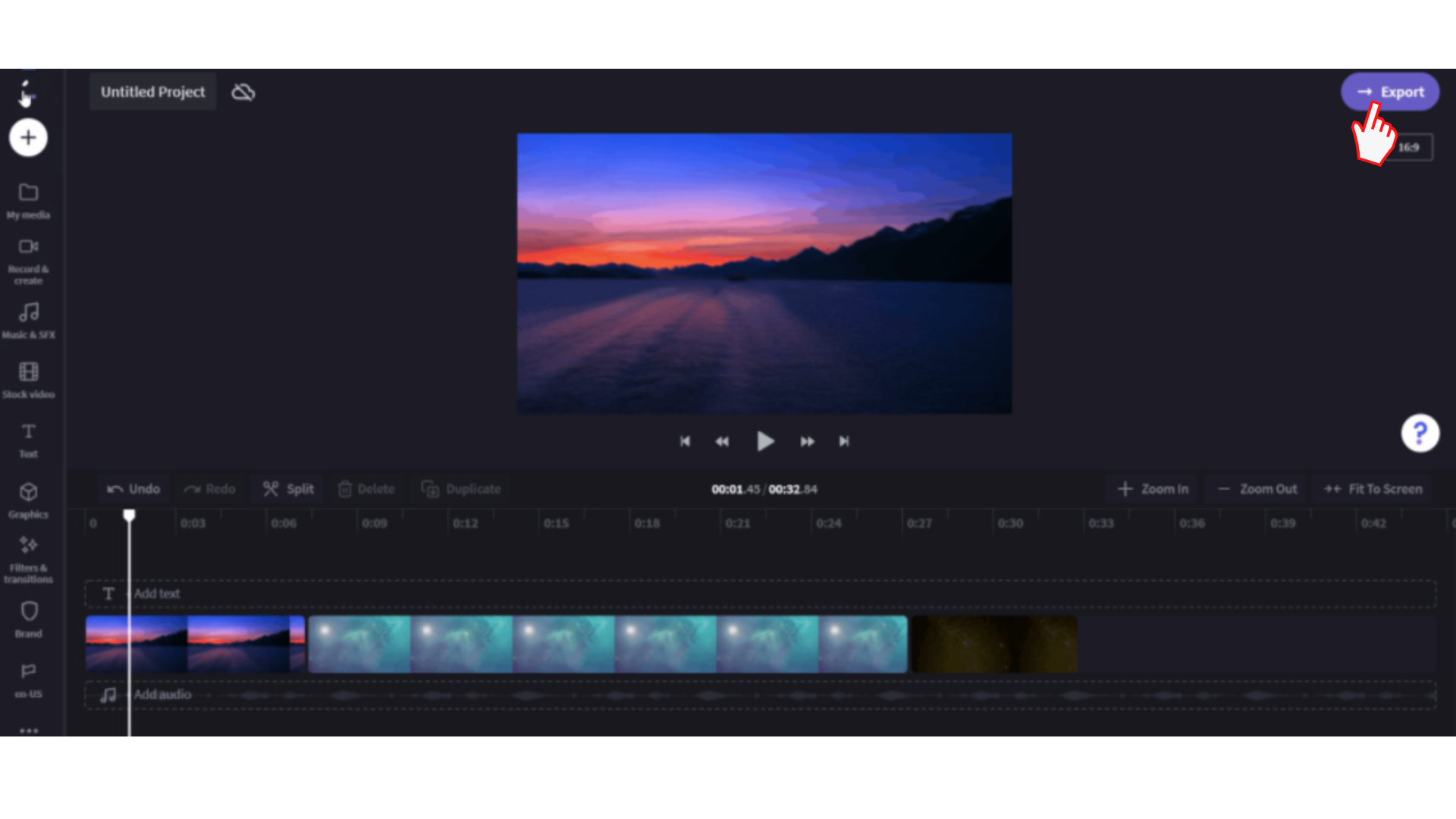 An image of the video editor showing the export button being clicked in the right right corner of the screen.
