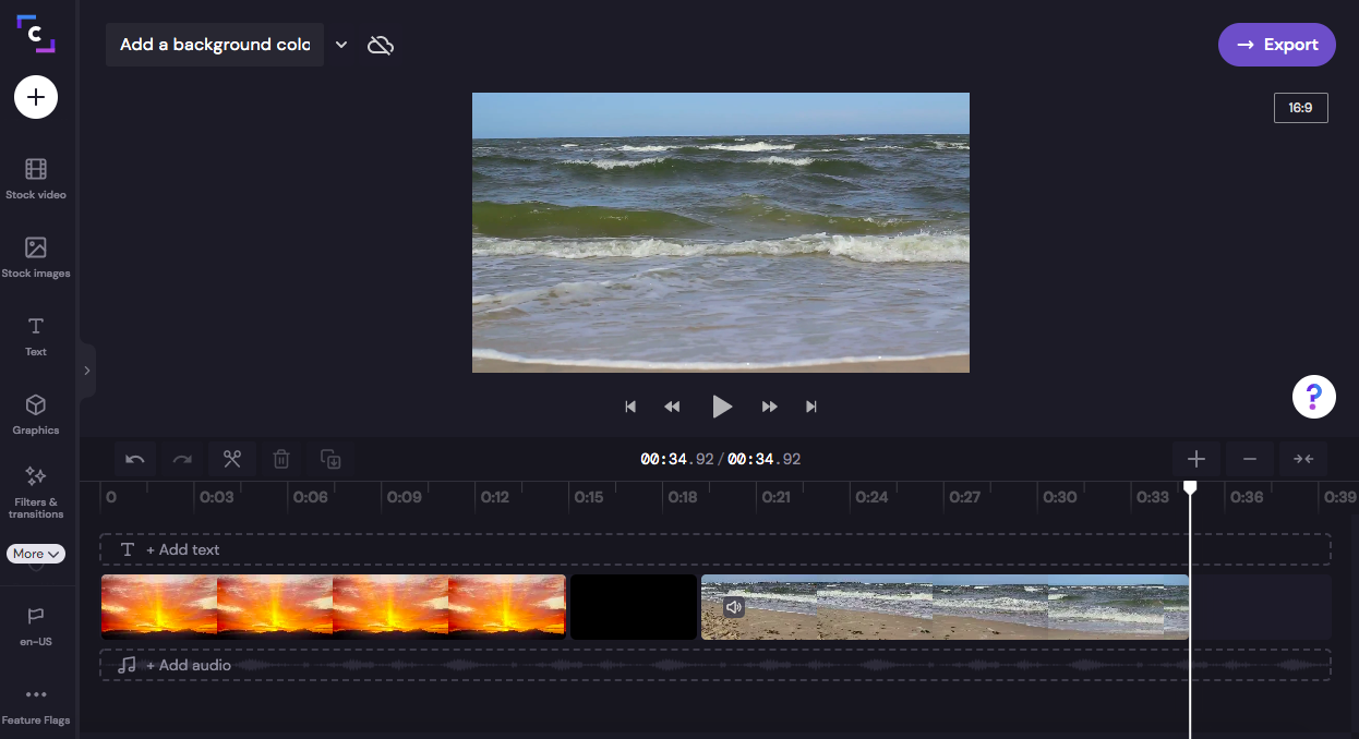 An image of the background in the middle of two video clips on the timeline.