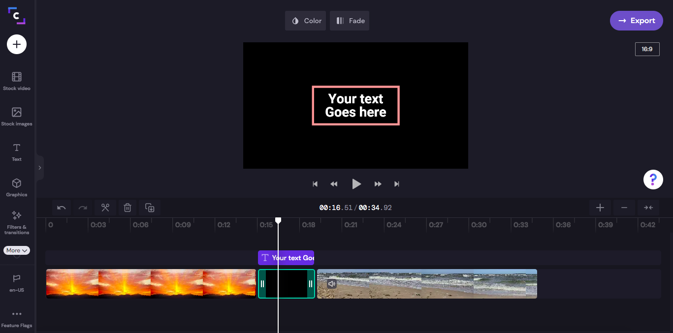 An image of the background between two clips being clicked. It now has a green boarder around the background showing it is selected on the timeline.