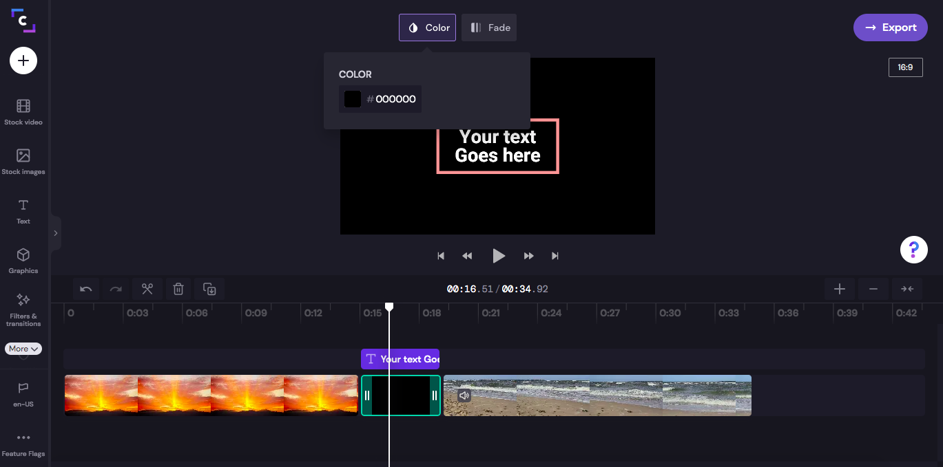 An image of the color tab opened above the video preview.