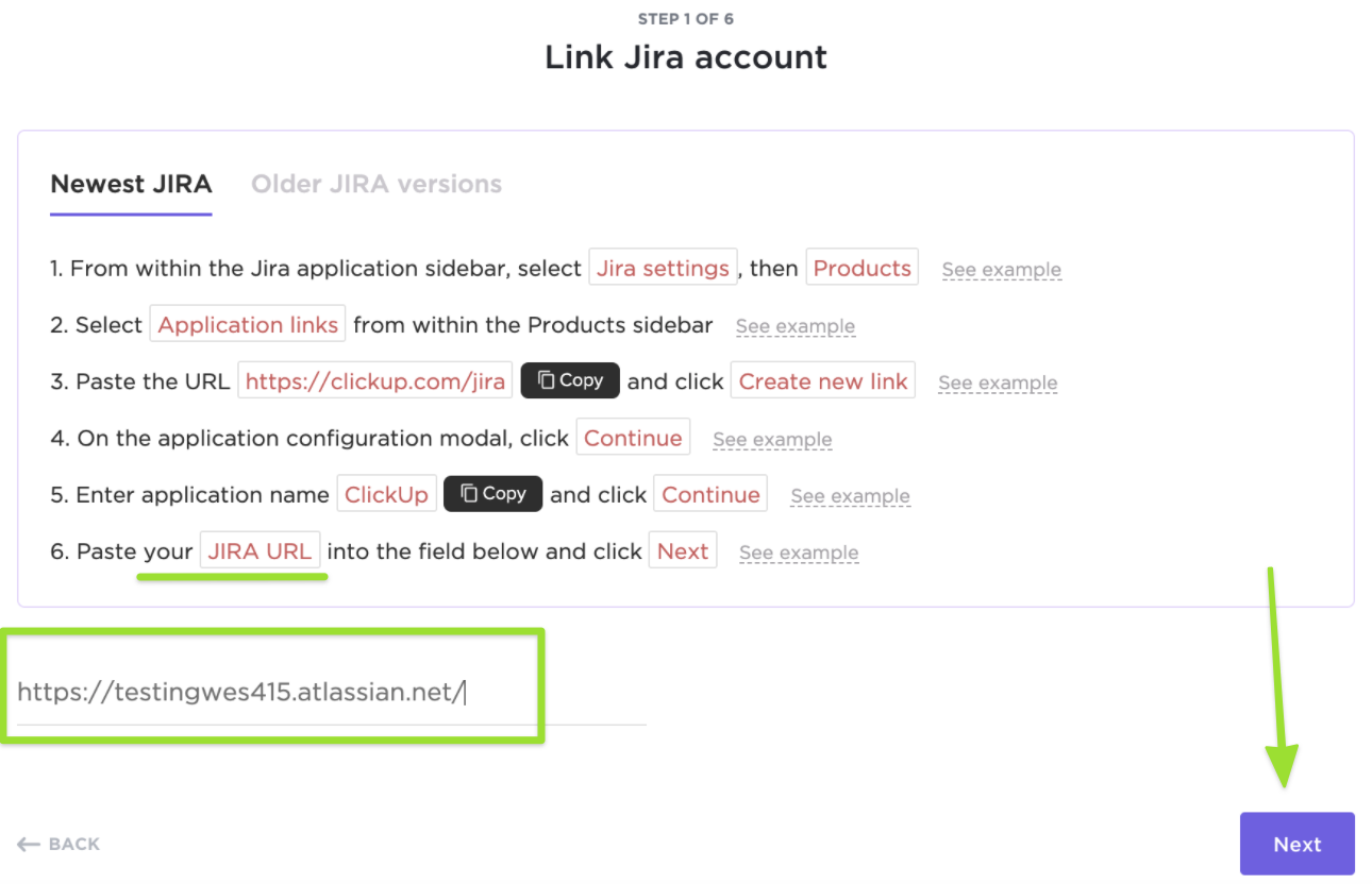 Screenshot of the Link Jira account page of the import process, highlighting the field to paste your JIRA URL into