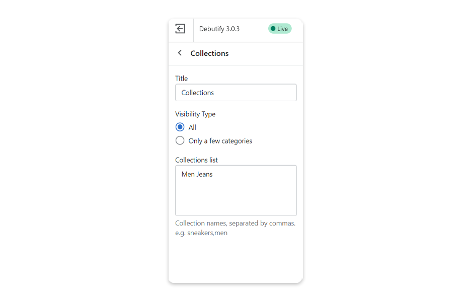 Add a Collections filter to create criteria to filter collections.