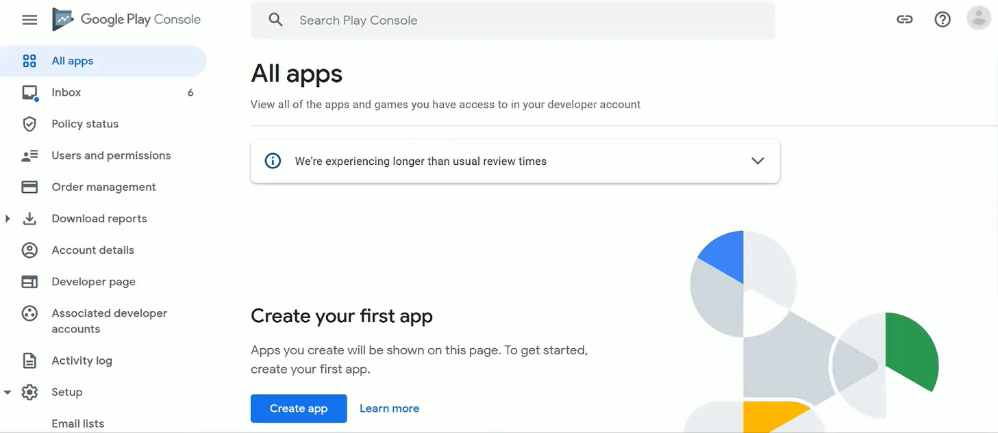 Google Play Console Home screen