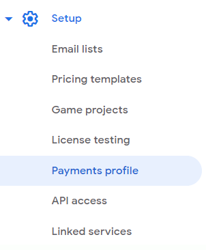 Screenshot: Payments profile on the left nav