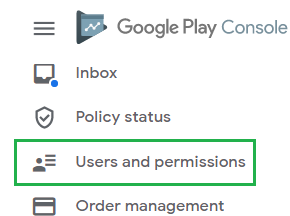 Users and permissions location in the left-nav