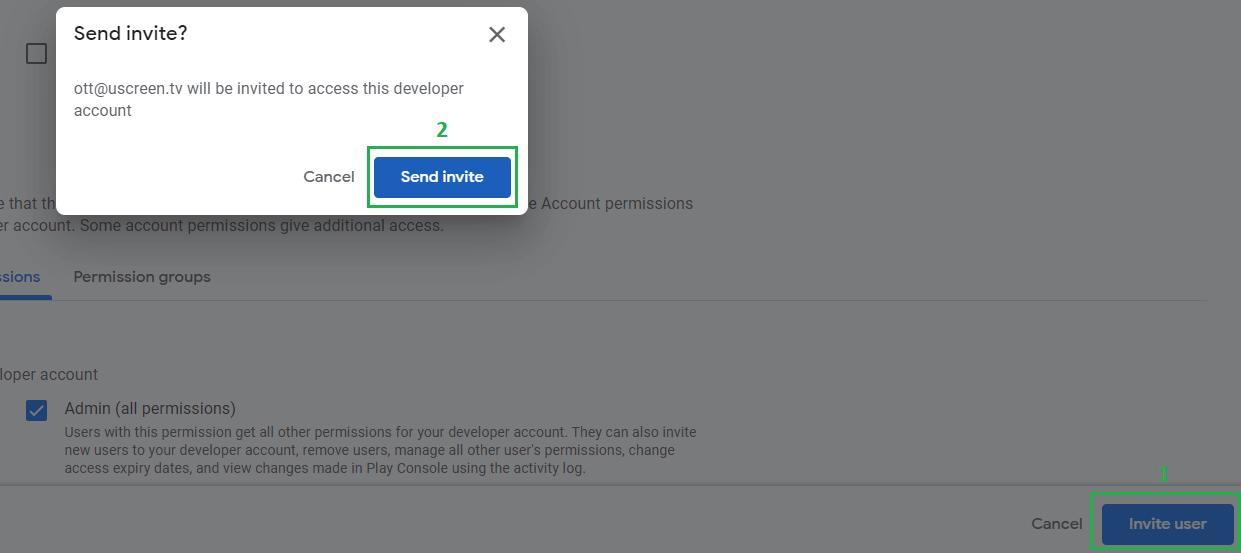 Invite user button