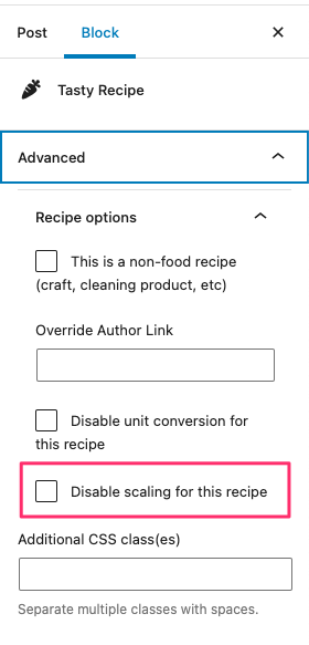 Disable scaling for a single recipe.
